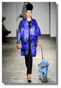 Isaac Mizrahi purple coat and dyed dog