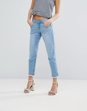 Lost Ink Slim Boyfriend Jeans With Daisy Hem £44.00