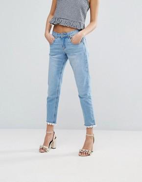 Lost Ink Slim Boyfriend Jeans With Daisy Hem £44.00