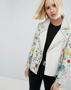 ASOS Floral Embroidered Leather Biker Jacket £200.00