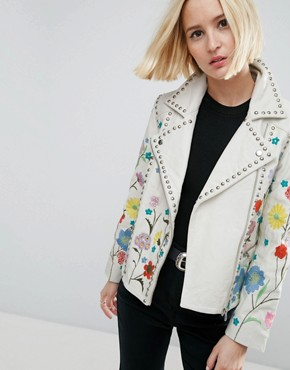 ASOS Floral Embroidered Leather Biker Jacket £200.00