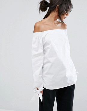 J.O.A Off Shoulder Top With Wide Tie Detail Sleeves £50.00
