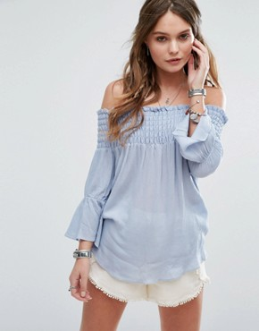 Glamorous Off Shoulder Smock Top With Flared Sleeves £26.00